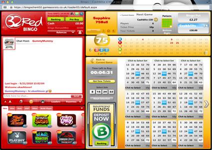 32 Red Bingo 75 Ball Game