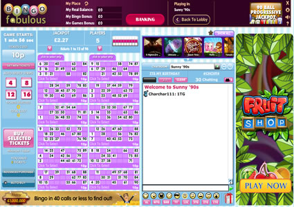 Bingo Fabulous 90 Ball Game