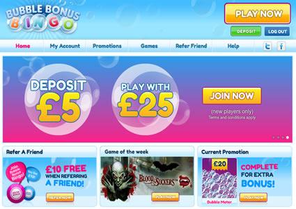 Bubble Bonus Bingo Home