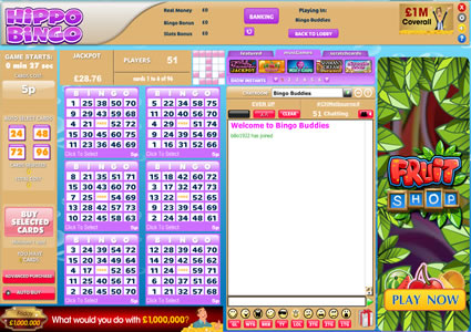 Hippo Bingo 75 Ball Game