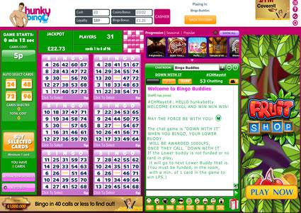 Hunky Bingo 75 Ball Game