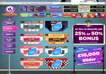 Lucky Pants Bingo Lobby