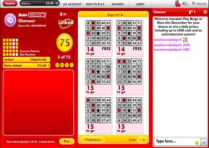 Sun Bingo 75 Ball Game
